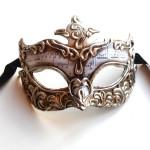 Mens Silver Genoa Ornate Venetian Masquerade Mask