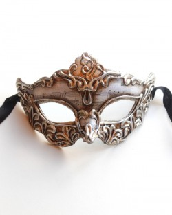 Mens Silver Shaped Genoa Ornate Venetian Masquerade Mask