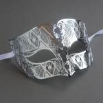 Mens Smoking Silver Metal Filigree Venetian Masquerade Mask