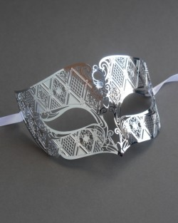 Mens Smoking Silver Metal Filigree Venetian Masquerade Mask