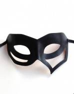 Womens Black Leather Cutout Mask 1