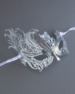 Womens Silver Metal Constance Filigree Masquerade Mask