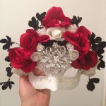 91. Blossom Black, Red & White Wedding Mask