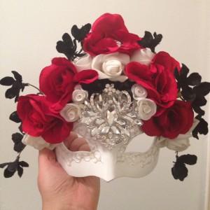 91. Blossom Black, Red & White Wedding Mask