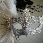 17. Ornate Silver & Gold, Crystal & Pearl Venetian Wedding Mask