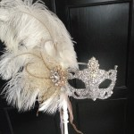 92.. Ornate Wedding Mask on a Stick