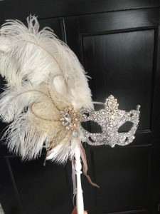 92.. Ornate Wedding Mask on a Stick