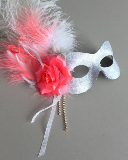 Coral & Silver Feather Mask b