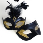 Couple's Matching Black & Gold Glitter & Feather Masks
