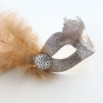 Katie Pale Champagne Beige Gold Feather Mask