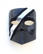Mens Black & Silver striped Venetian Bauta Mask