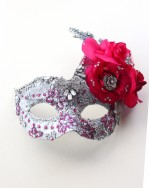 One of a Kind Vintage Silver & Hot Pink Swarovski Mask