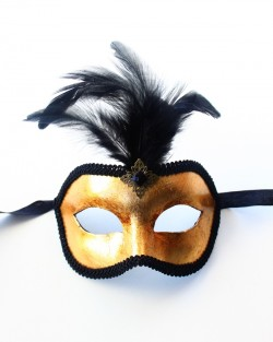 mens gold leaf feather venetian mask
