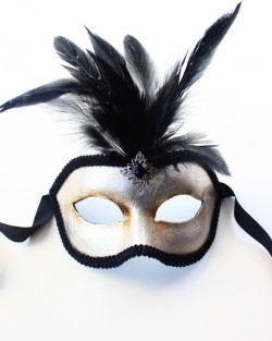 mens silver leaf feather venetian mask