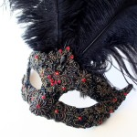 one of a kind black & red embelllished feather mask b