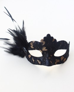 petite black & gold lace feather mask