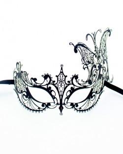 Black Metal Filigree Butterfly Side Mask
