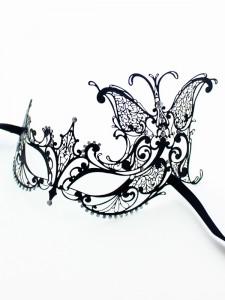 Black Metal Filigree Butterfly Side Mask b