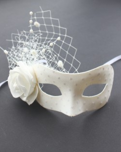 Dotty White Rose & Net Bridal Mask