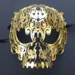 Gold Metal Filigree Skull Mask
