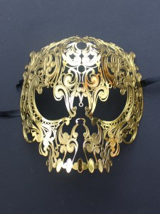 Gold Metal Filigree Skull Mask