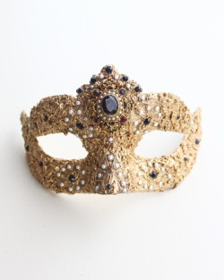 One of a Kind Baroque Vintage Black & Pearl Swarovski Mask