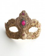 One of a Kind Gold & Pink Swarovski Crystal Petite Mask