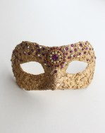 One of a kind Vintage Gold & Amethyst Pink Petite Mask