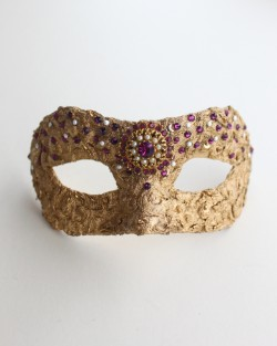 One of a kind Vintage Gold & Amethyst Pink Petite Mask