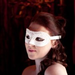 ivory petite lace and crystal prom mask