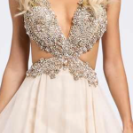 jewelled silver gold peach and beige dress