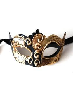 Barcelona Shaped Black & Gold Masquerade Mask