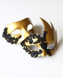 Couples Matching Black & Gold Lace Venetian Masks