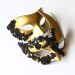 Couples Matching Black & Gold Lace Venetian Masks b