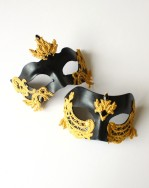Couples Matching Black Venetian Masks with Baroque Gold Lace Detail
