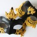 Couples Matching Black Venetian Masks with Baroque Gold Lace Detail b
