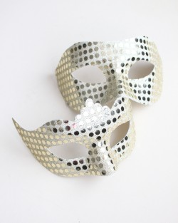 Couples Pale Gold Mirror Masquerade Masks