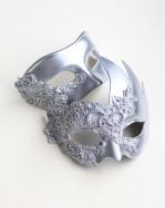 Couple's Silver Lace Swans