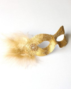 Gold Lace Eye Mask with small gold feathers & jewel detail