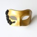 Mens Gold Venetian Mask with Black Lace Detail