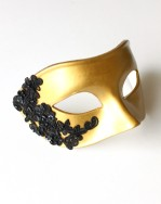 Mens Gold Venetian Mask with Black Lace Detail b