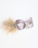 Champagne Beige Pale Gold Glitter Eye Mask with gold feathers