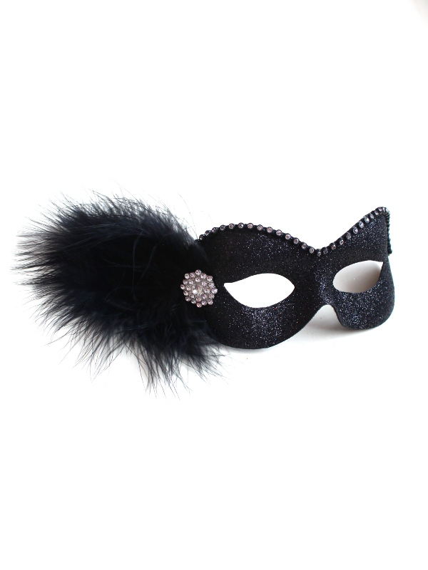 Party Girl Black Diamante Masquerade Eye Mask
