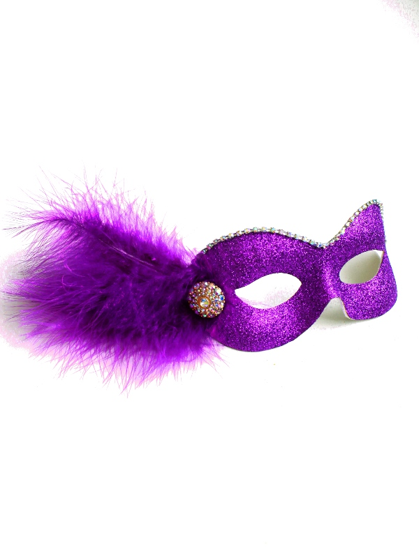 Party Girl Cadburys Purple & Gold Diamante Masquerade Eye Mask