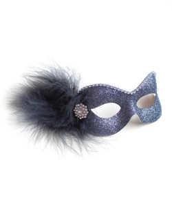 Party Girl Pewter Grey Diamante Masquerade Eye Mask