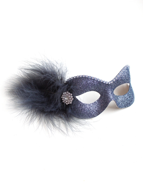 Party Girl Pewter Grey Diamante Masquerade Eye Mask