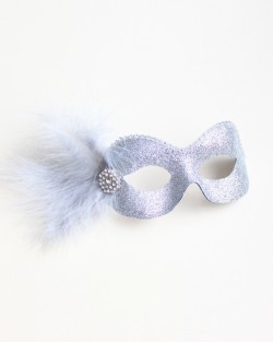 pretty silver glitter eye mask with diamante trim