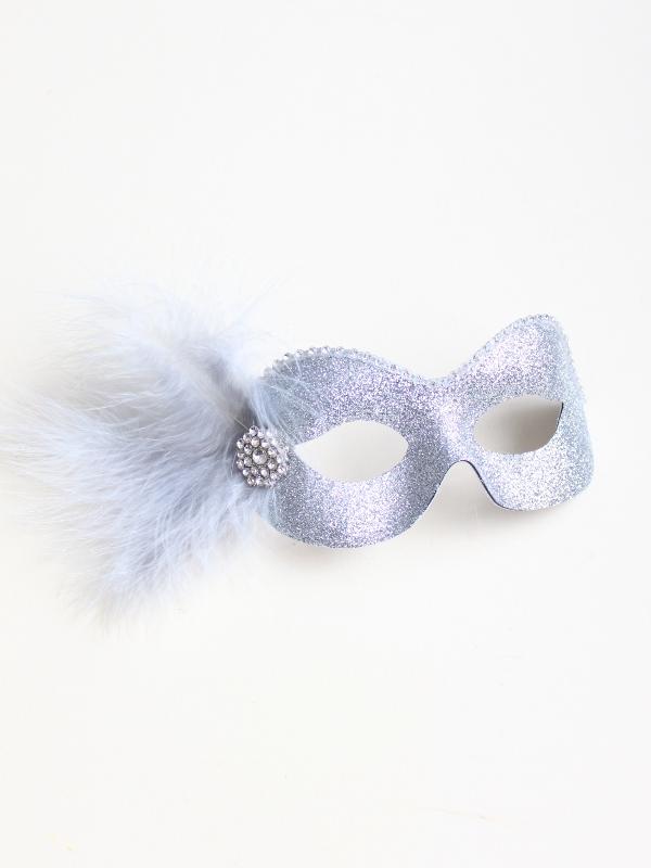 pretty silver glitter eye mask with diamante trim