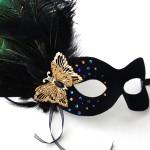Peacock & Black Rhinestone Butterfly Mask
