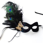 Peacock & Black Rhinestone Butterfly Mask a